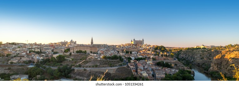 Panoramic landscape of Toledo old town in sunrise time, Spain.