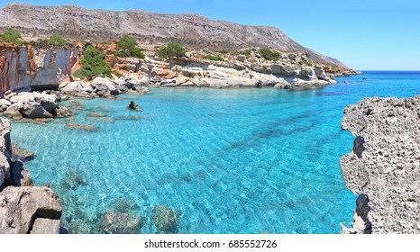 panoramic landscape - turquoise sea of Petrified Forest Lakonia Peloponnese Greece