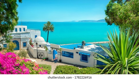 Panoramic landscape with typical white blue houses  and beautiful view of seaside. Sidi Bou Said, Tunisia, North Africa