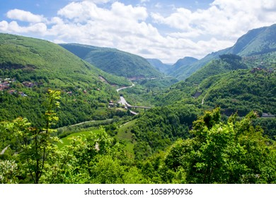 The panoramic landscape and the untouched nature of the magnificent mountain valley and the canyon of the Miljacka  river near the city of Sarajevo, the capital of Bosnia and Herzegovina