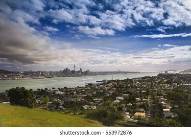 Panoramic Landscape View of Auckland Capital City Skyline and Distant Sea Harbor from summit of Mount Eden on North Island in New Zealand