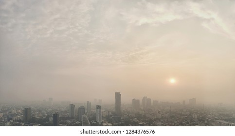 panoramic landscape view of Bangkok city and skyscape that showing smog and air polution from particle PM2.5 in Bangkok.