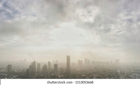 panoramic landscape view of Bangkok city and skyscape that showing smog and polluted air pollution from particle PM2.5