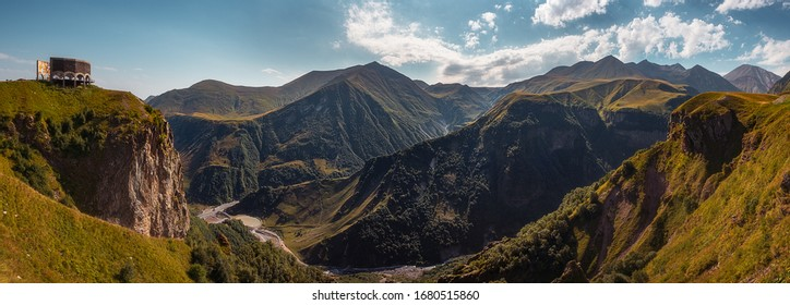 Panoramic landscape view of beautiful Caucasus mountains, Kazbegi, Country of Georgia