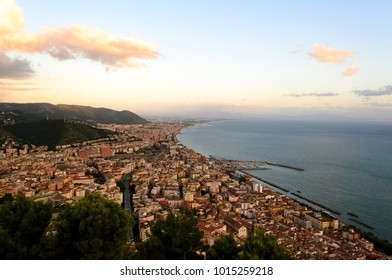 Panoramic landscape view of the beautiful city of Salerno and its waterfront in Campania, Italy. From this high point of view you can see all the city coast line and even further