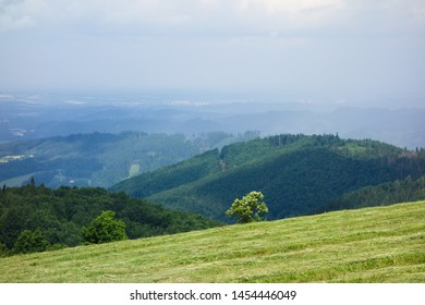 Panoramic landscape view of Beskydy mountains from Loucka in Nydek, Moravian Silesian region, Czech republic, Europe. Attractive light, after a storm.