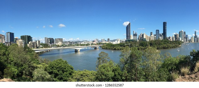 Panoramic landscape view of Brisbane the capital city of Queensland state from Kangaroo Point in Brisbane Queensland Australia.