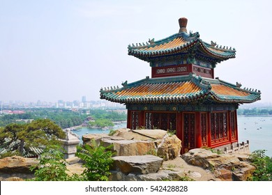 Panoramic landscape view of Chinese style pavilion on the hill top of Summer Palace in Beijing, China. It is one of the oldest, largest and best-preserved ancient imperial gardens in China.