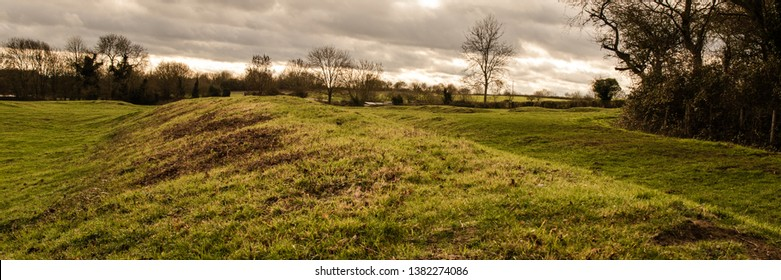 Panoramic landscape view of Clare Camp, enigmatic earthworks on Clare Common.