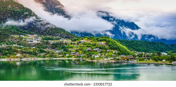 Panoramic landscape view of Eidfjord, Norway.