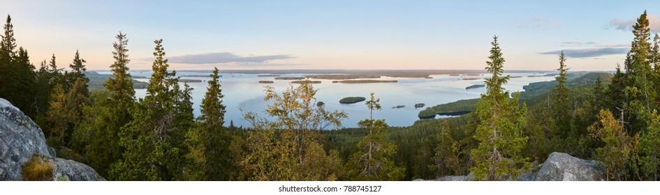 Panoramic landscape view. Koli National Park. Pielinen area. Finland nature