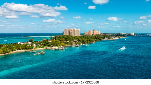 Panoramic landscape view of a narrow Island and beach at the cruise port of Nassau in the Bahamas.