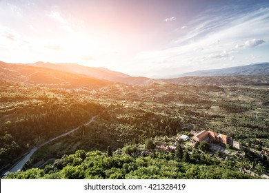 Panoramic landscape view on Mystras cloister  in Sparta, Laconia, Greece