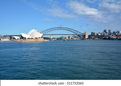 Panoramic landscape view of Sydney skyline in New South Wales, Australia.