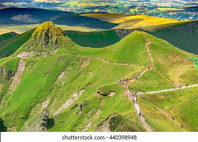 Panoramic landscape of volcanic mountains ( Puy de Sancy, France )