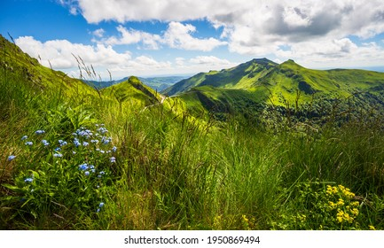 Panoramic landscape of volcanic mountains (view from Puy Mary, Massif Central, France)