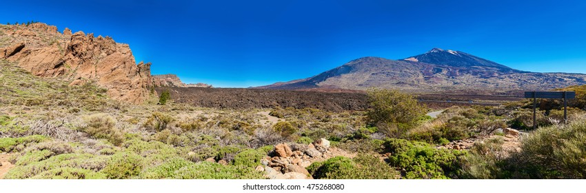 panoramic landscape of volcano Teide from the side of the Liano de Ucanca mountains, Tenerife, Canary Islands
