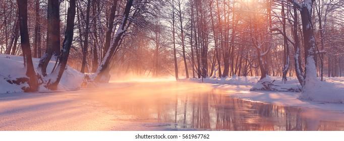 Panoramic landscape of winter morning. Red sunlight illuminate winter scene. Sun shine on trees in park. Misty winter sunrise.