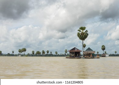 Panoramic landscapes of the flooded lake Tempe and floating village in the south of Sulawesi, Indonesia