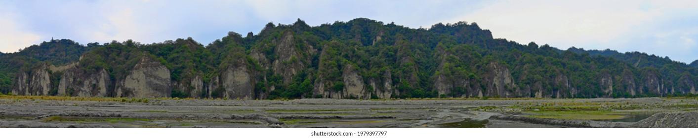 Panoramic Little Huangshan (xiaohuangshanand) alongside with Beinan creek at taitung, taiwan