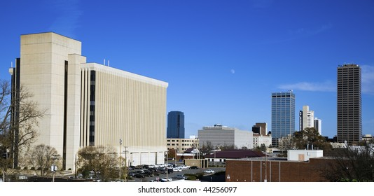 Panoramic Little Rock , Arkansas. Blurred barque in the foreground.