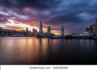 Panoramic long exposure view to the skyline of London during a colorful sunset, United Kingdom