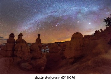 Panoramic of Milky Way over Hoodoo in Bryce Canyon National Park, Utah