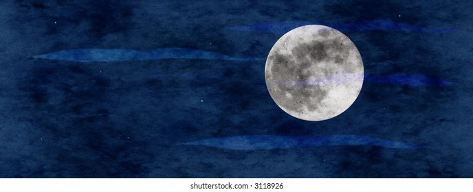 panoramic moonscape with stars and transparent clouds collage paper texture