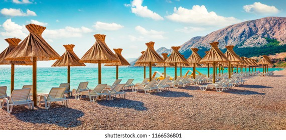 Panoramic morning scene of Baska Beach. Amazing summer seascape of Adriatic sea, Baska town location, Krk island, Kvarner bay archipelago, Croatia, Europe. Beautiful world of Mediterranean countries.