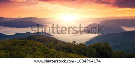 panoramic morning scene beauty