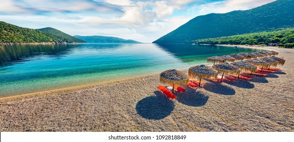 Panoramic morning view of Antisamos Beach. Bright spring seascape of Ionian Sea. Splendid outdoor scene of Kefalonia island, Sami town location, Greece, Europe. Traveling concept background.