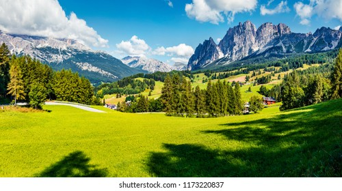 Panoramic morning view of Cortina d'Ampezzo resort. Spectacular summer scene of Dolomiti Alps, Province of Belluno, Italy, Europe. Beauty of countryside concept background.
