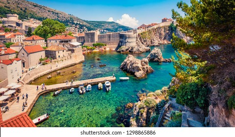 Panoramic morning view of famous Fort Bokar in city of Dubrovnik. Splendid summer scene of Croatia, Europe. Beautiful world of Mediterranean countries. Traveling concept background.