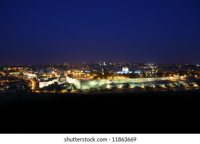 panoramic morning view of Jerusalem Old City, clear dark blue sky