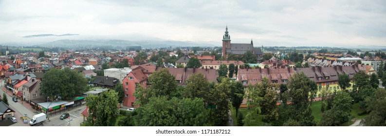 The panoramic morning view of Nowy Targ, the capital town of Podhale region (Poland).