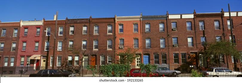 Panoramic morning view of red brick row houses of Philadelphia, PA