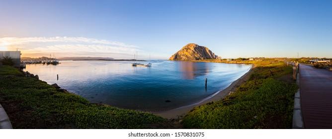 Panoramic Morro Bay view. Morning light on Morro Rock.