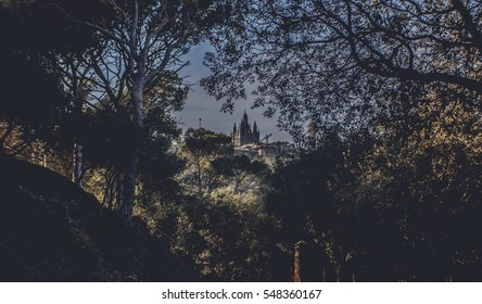 Panoramic mountain landscape in a city Barcelona. Old Building in Barcelona, Spain. Top view of the city. Barselona panorama. Temple Sacred Heart of Jesus on Tibidabo in Barcelona