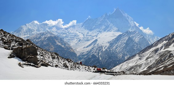 Panoramic Mountain Landscape in Himalaya. View to Machapuchare Top, Fish Tail Peak. Nepal. Annapurna Base Camp Track.