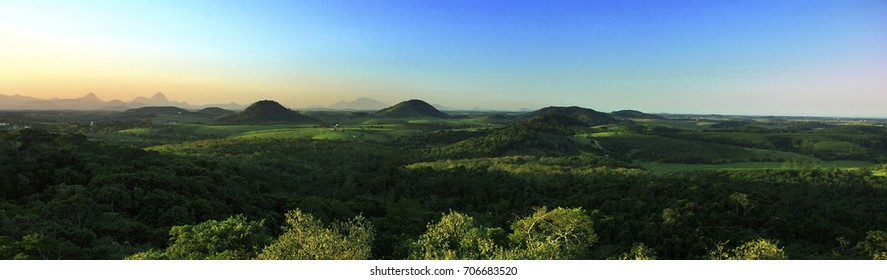 Panoramic Mountain Landscape photographed in Guarapari, Espírito Santo - Southeast of Brazil. Atlantic Forest Biome.