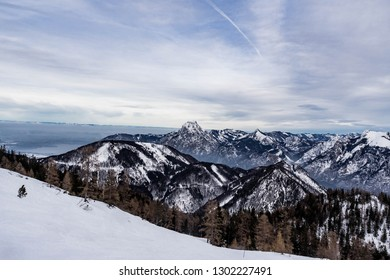 panoramic mountain view with rocks and ice, snowy mountains from a top view, austrian alps,