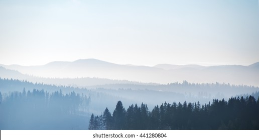 Panoramic mountains view. natural  winter background