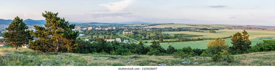 Panoramic natural scene from Calvary in Nitra, Slovak republic. Travel destination.