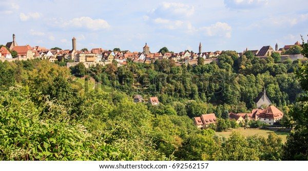 Panoramic Natural View Point of old town Rothenburg ob der Tauber, Germany. One of Germany's Romantic Road tourist attractions, travel destinations, landscapes and landmarks. German Vintage Tourism.