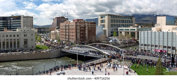 Panoramic - New Bridge Ceremony over Truckee River on First Street in Reno Nevada April 2016