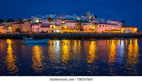Panoramic night sight in Ferragudo, Algarve, Portugal.