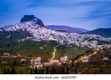 Panoramic night view of Chora, the capital of the island of Skyros, in the Sporades complex, Aegean sea, Greece.