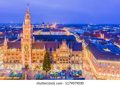 Panoramic Night View of The City Center at The Clock Tower Of Munchen, Cermany