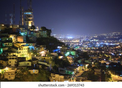 Panoramic Night View of Guayaquil, Ecuador as seen from Cerro Santa Ana