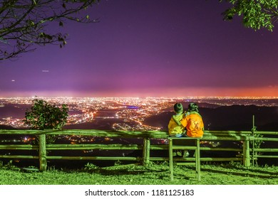 Panoramic Night View of Hsinchu Plain from Hakodate Campground at Jianshi, Similar with the Famous Hakodate Night View of Japan, Hsinchu, Taiwan
